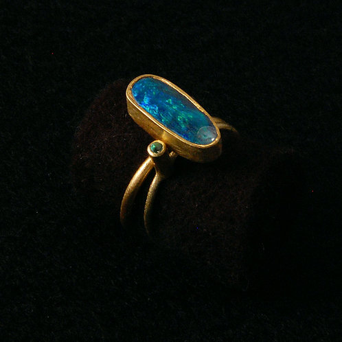 boulder opal ring with emerald stacker