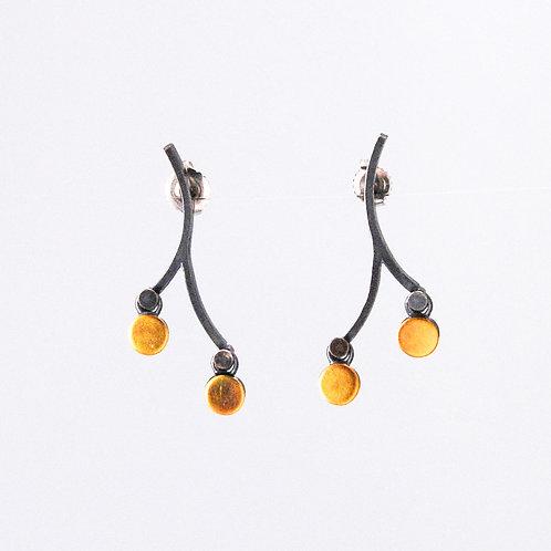 yellow stone branch earrings