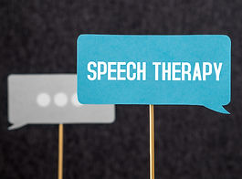 Speech therapy text on cardboard speech