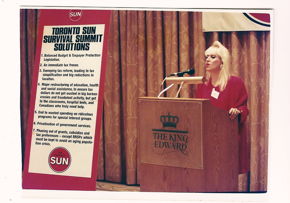 Linda Leatherdale, Money Editor of the Toronto Sun, hosts the Survival Summit at the King Edward Hotel.