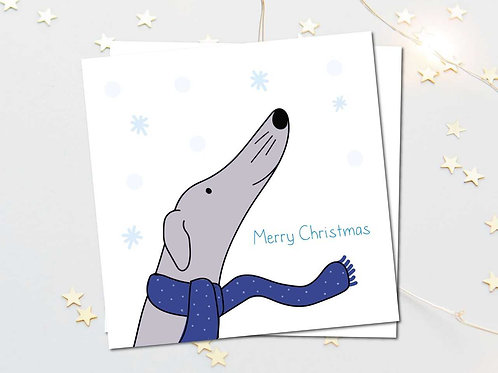 Greyhound lurcher whippet christmas card