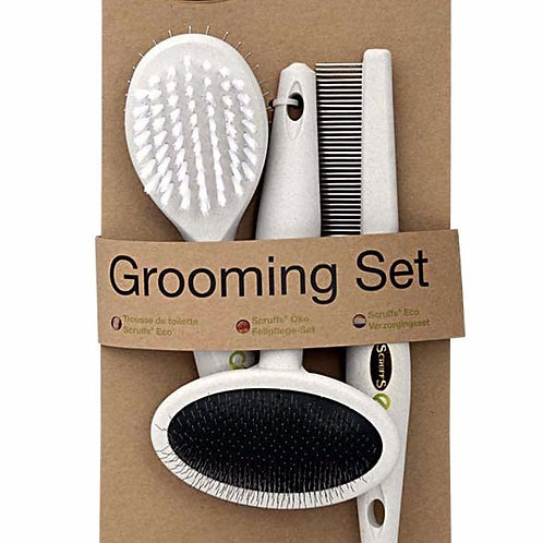 Eco-friendly dog grooming brush and comb set. Pointy Faces