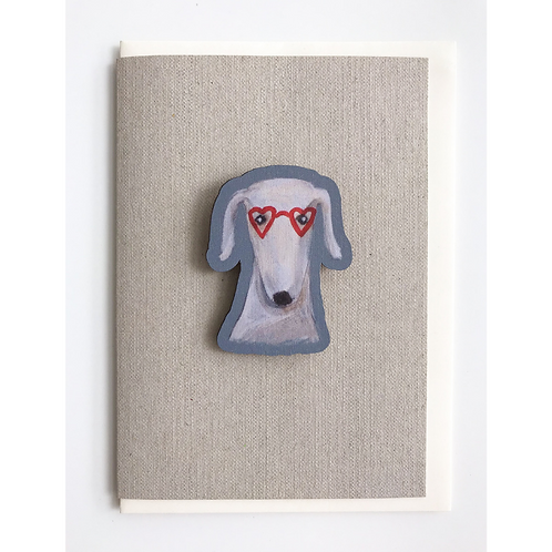 Greyhound whippet and lurcher birthday card and magnet gift