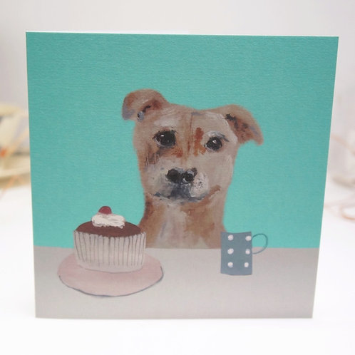 Staffie out for tea birthday card