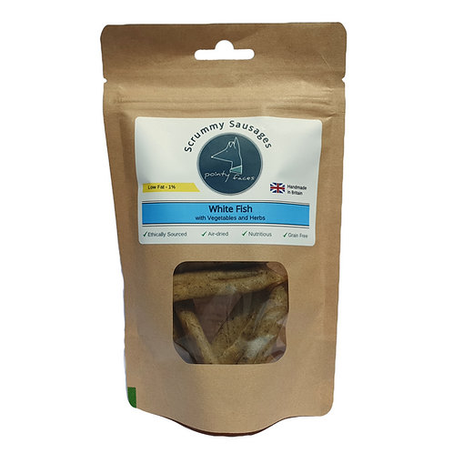 Scrummy Sausages for Dogs Low Fat White Fish Pointy Faces