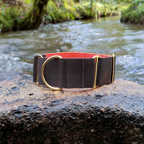 """2"""" Martingale Collar in Brown Orange Pointy Faces"""