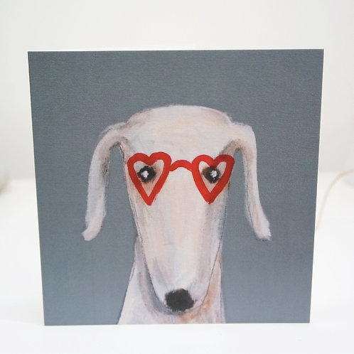 Heart Shaped Glasses greeting card. White lurcher whippet greyhound sighthound