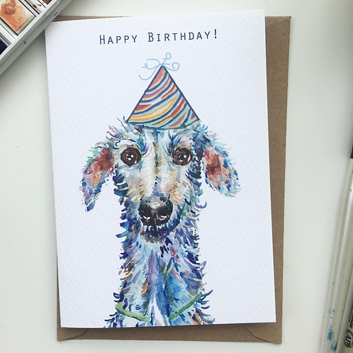 Scruffy lurcher dog birthday card