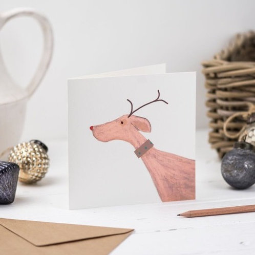 Antler Dog Christmas Card
