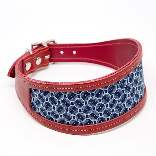 Italian Greyhound Collar blue and red. Pointy Faces