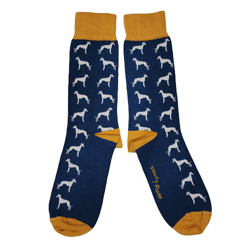 Men's Sighthound Socks. Whippet lurcher greyhound gift. Pointy Faces