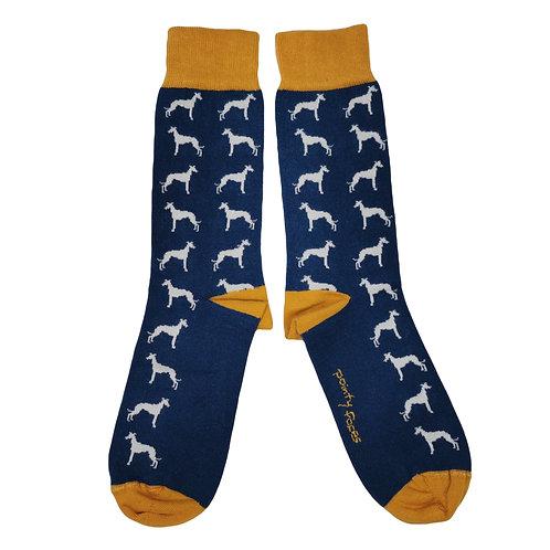 Men's Sighthound Socks. Whippet lurcher greyhound gift.