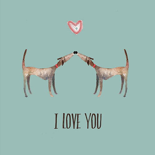 Whippet Lurcher and Greyhound Valentines Card in Green