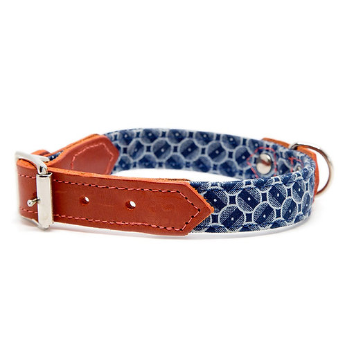 Pointy Faces Dog Collar Red and Blue