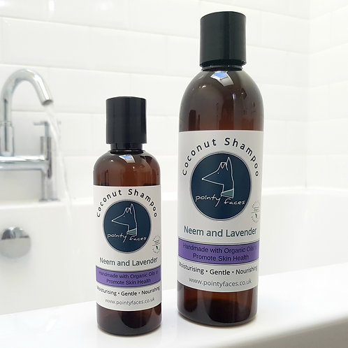 Organic Neem and Lavender Oil Dog Shampoo with coconut oil by Pointy Faces, UK.