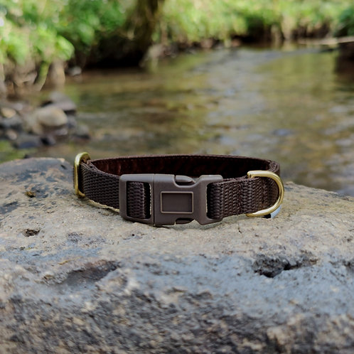 House Collar in Brown Webbing and Velvet