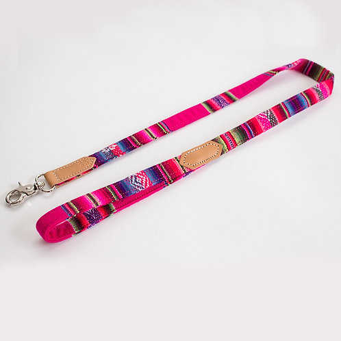 Dog lead pink and tan leather. Pointy Faces