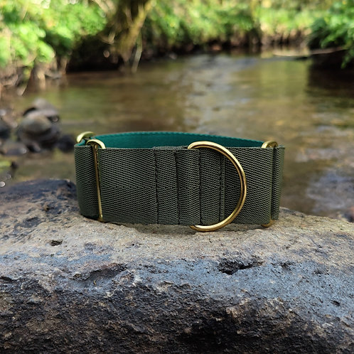 """2"""" Martingale Collar in Olive Webbing"""