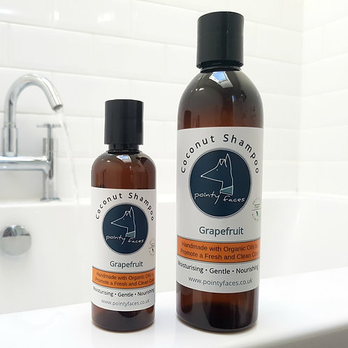 Organic Grapefruit Dog Shampoo. Handmade with Coconut Oil by Pointy Faces, UK