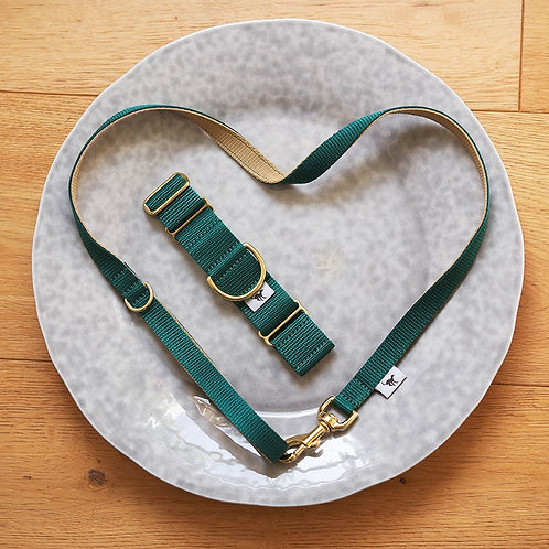 Lead in Dark Emerald and Pale Gold - Length 110cm or 180cm