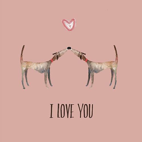 Greyhound Valentines Card Card in Pink