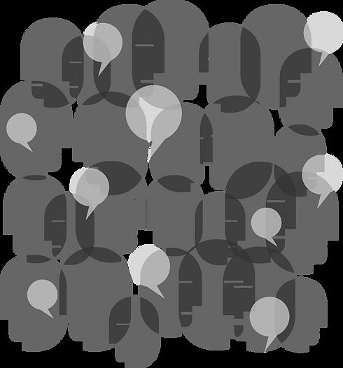 Desenho, grupo de pessoas em conversa