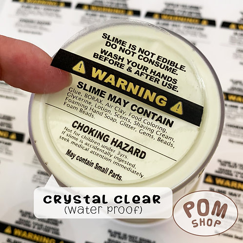 """2"""" Circle """"WARNING"""" Stickers for SLIME Container Bottom【20 stickers】"""