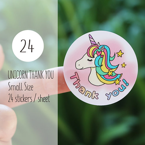Thank You Sticker : Unicorn【24 stickers】