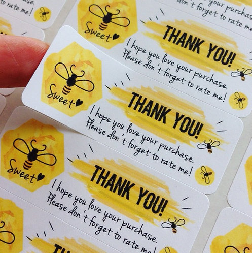 Thank you sticker : Watercolor Honey Bees【30 stickers】