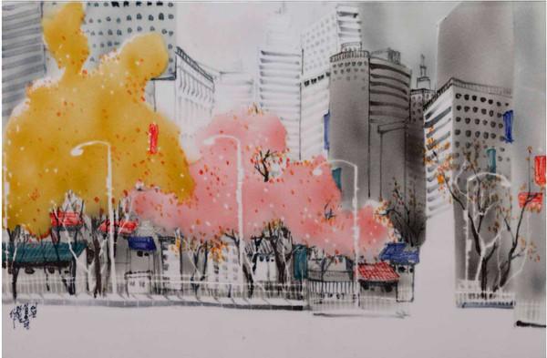 Oh-Man-Chul-Urbans-Autumn,-44-x-81cm,-Wh