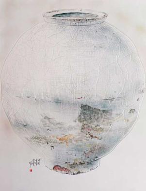 Oh-Man-Chul-Rumination---Moon-Jar,-57-x-