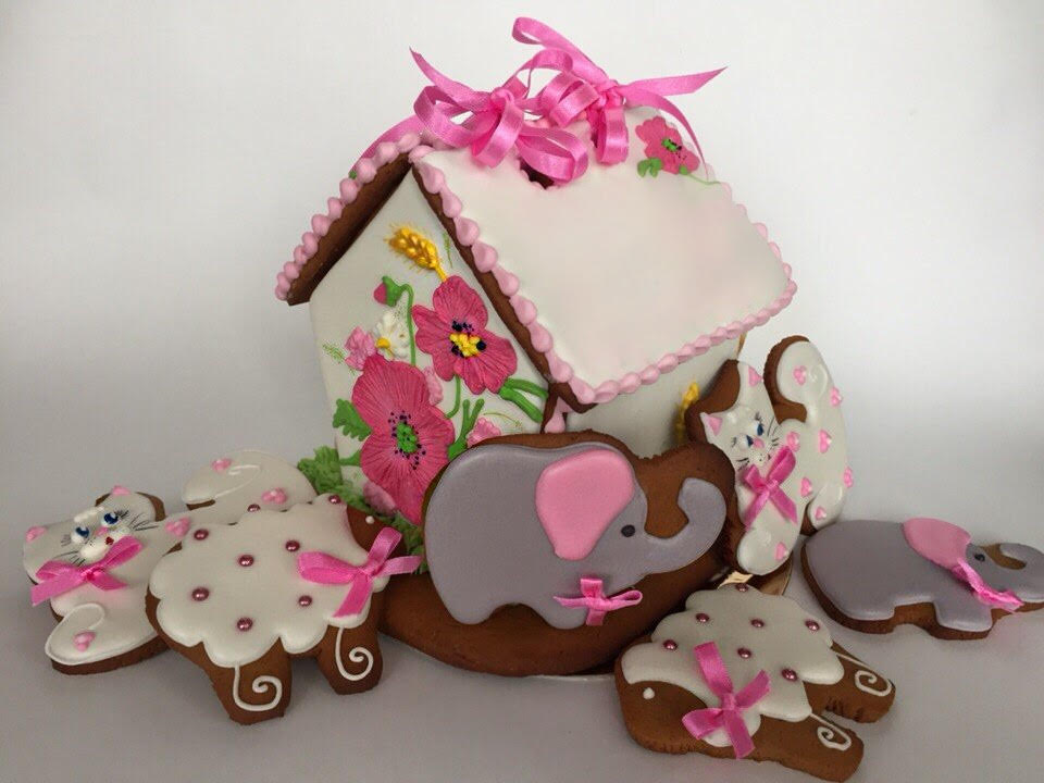 Hand decorated cookie house