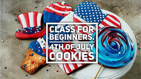 A set of six 4th of July cookies (Beginners)