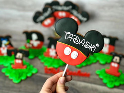 Mickey Mouse themed cookie-on-stick