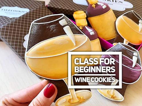 Wine cookies (Beginners): wine bottle & 2 glasses