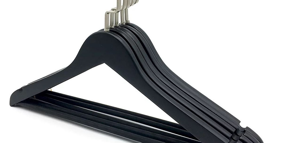 Wooden Cloth Hanger with Hanging Bar / WH-015AB Black