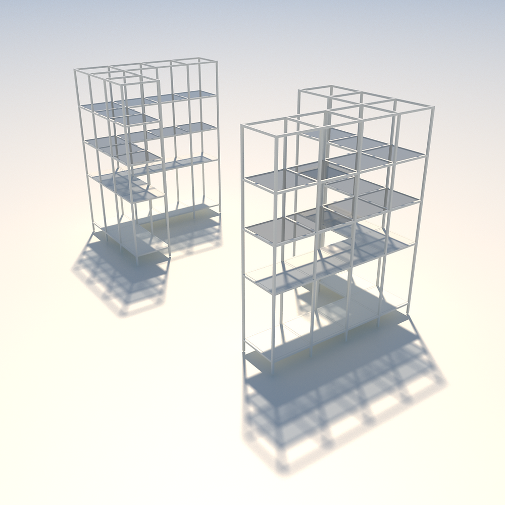 CUBE display unit in L shape