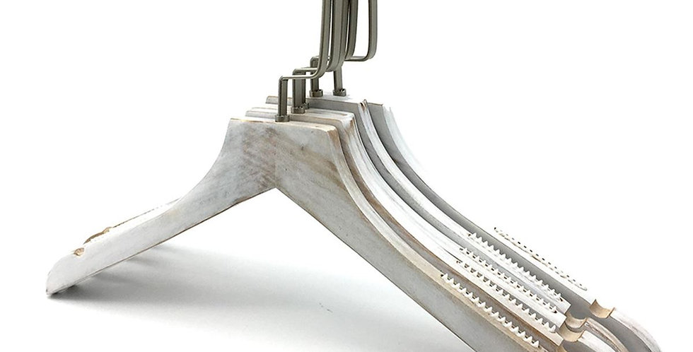 Standard Wooden Cloth Hanger / WH-031AOW Old White