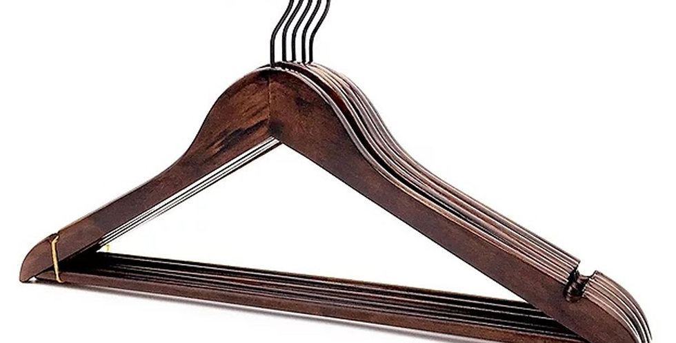 Wooden Cloth Hanger with Hanging Bar / WH-011AA Antique