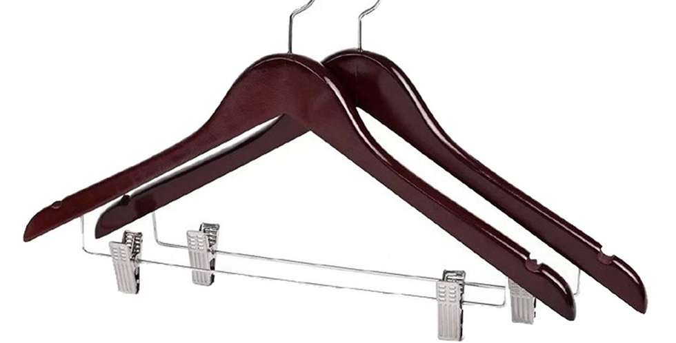 Wooden Cloth Hanger with Hanging Clip / WH-014AD Dark