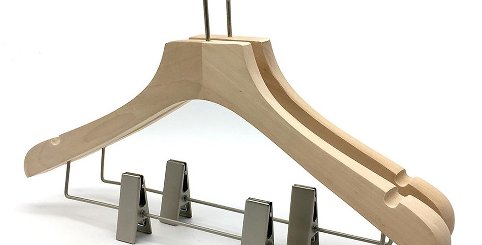 Wooden Cloth Hanger with Hanging Clip / WH-035AN Nature
