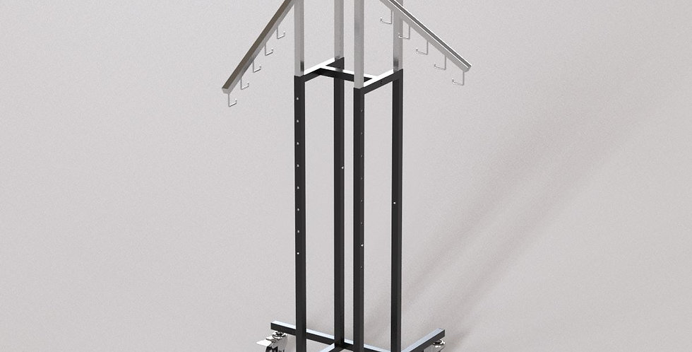 "4Way Garment Hanger Rack / 16"" Slant Hook Arm / Apparel Retail Display"