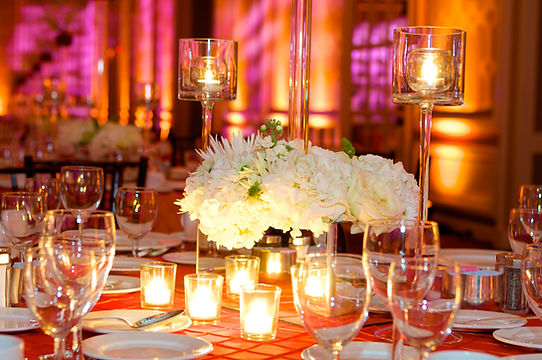 Centerpiece with candles.