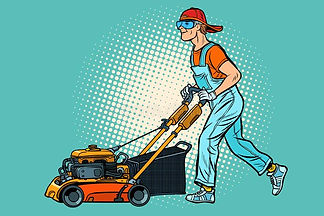 lawn-mower-worker-profession-service-pop