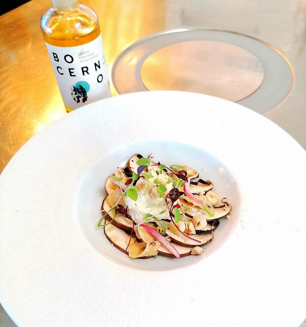 champignon bruns foie gras Thibaulut Guiet Nomade x Bocerno huile de noix