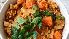 Dahl de lentilles corail, carottes et tofu