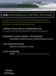 5 day Nicaragua Surf Trip Packages. 4x4 surf tours