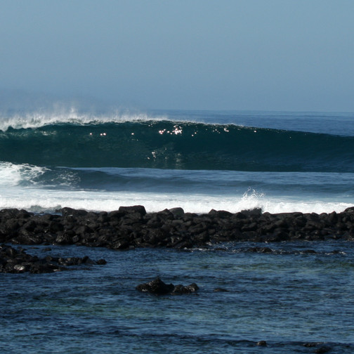 Hollow left over crystal clear volcanic reef. Perfect left pointbreak in Galapagos Islands. 8 days 7 nights Galapagos Surf Camp. Exotic surf trips in Galapagos Islands. 4x4surftours.com
