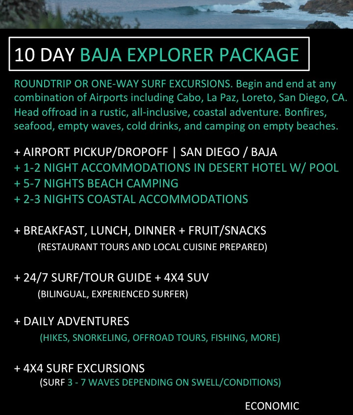 Baja California Surf Trip. 10 day all inclusive surf travel packages in Baja California.