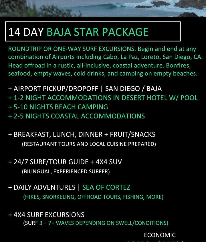 Baja California Surf Trip. 14 day all inclusive surf travel packages in Baja California.